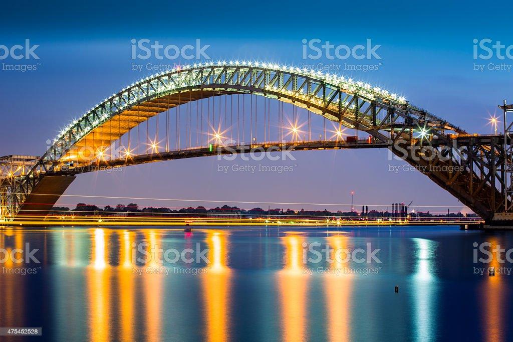 Bayonne Bridge at dusk stock photo