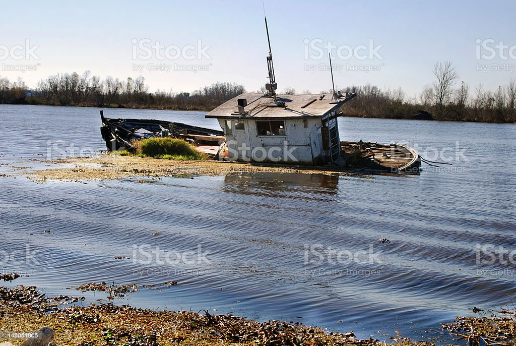 Bayou Barge down and out stock photo