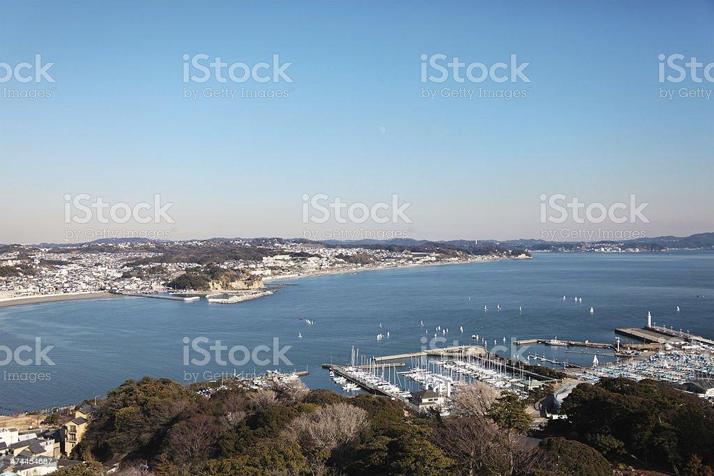 Vista a la bahía de Tokio, Japón foto de stock libre de derechos