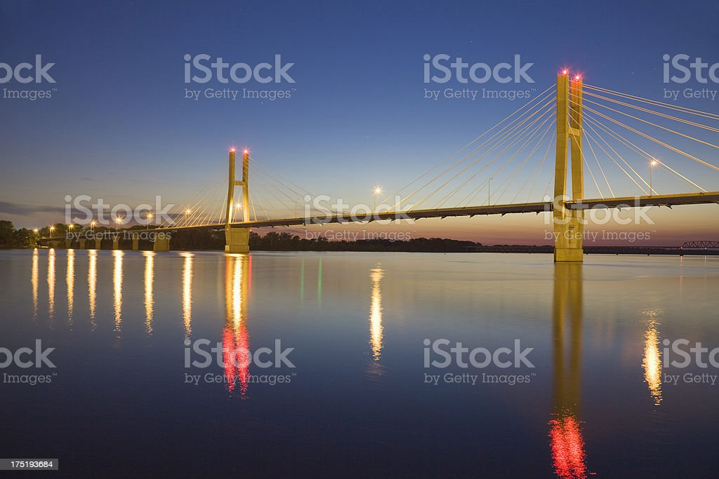 Bayview Bridge over Mississippi River, Quincy, Illinois at dusk stock photo