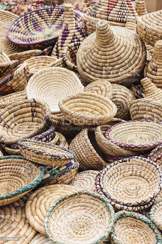 Bazaar Handicrafts Street Market in Marrakech Medina Morocco stock photo