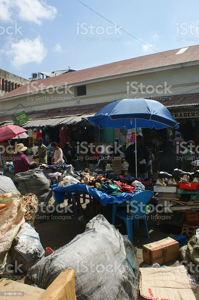 Bazaar in Mombasa stock photo