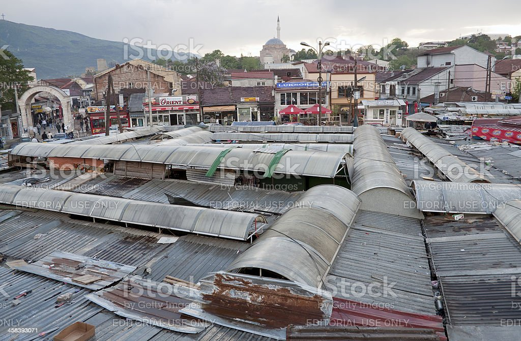 Bazaar in Skopje from Above royalty-free stock photo