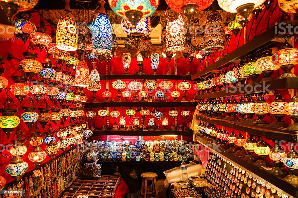 bazaar: lamps and lanterns stock photo