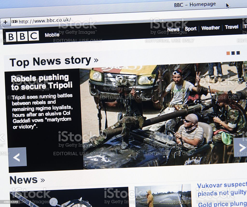 BBC.com show news about the rebellion war in Libya stock photo