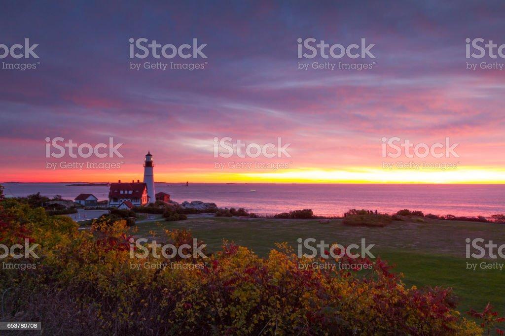 Bbeautiful Sunrise in the Portland Head Light, Maine. stock photo