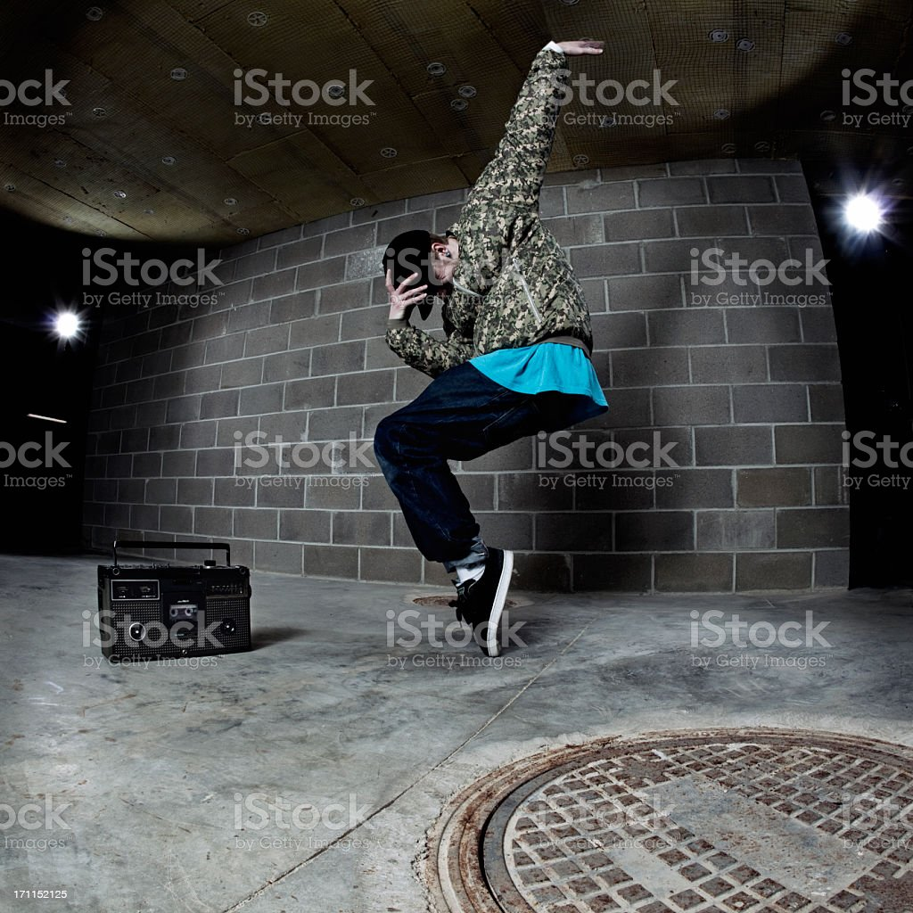 B-boy and Boombox stock photo