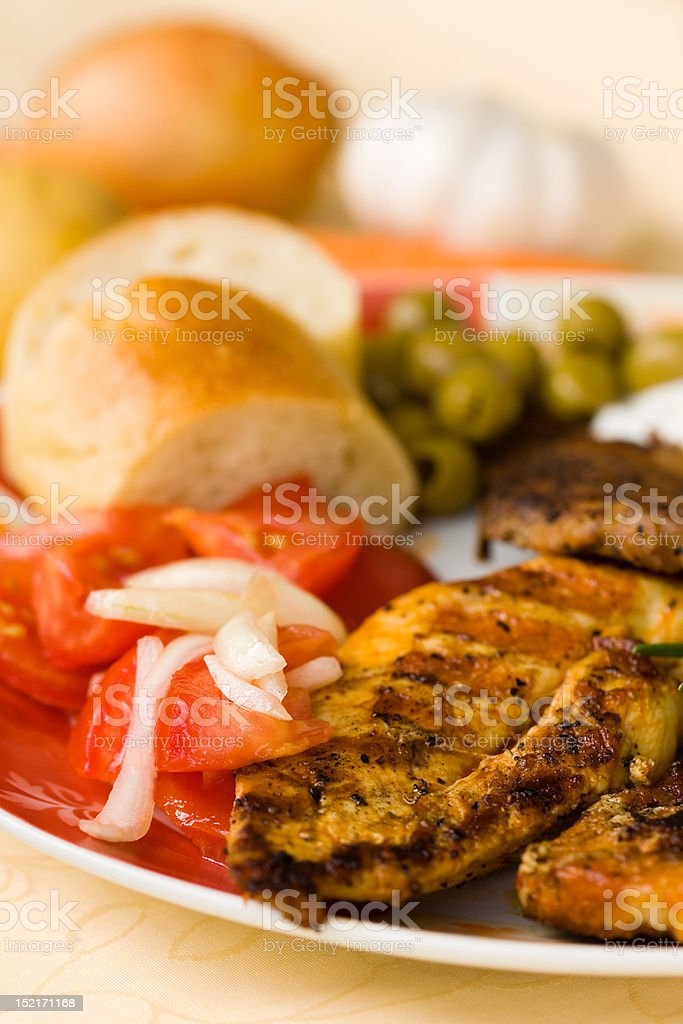 bbq , grilled cutlet and bacon with salad royalty-free stock photo