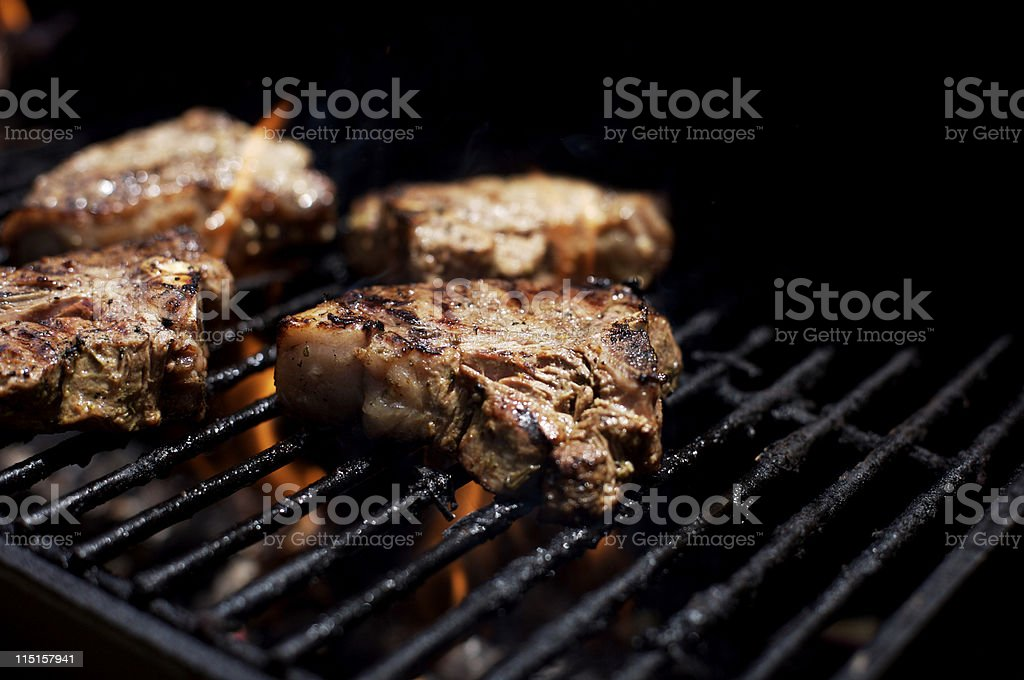 bbq grilled lamb chops royalty-free stock photo