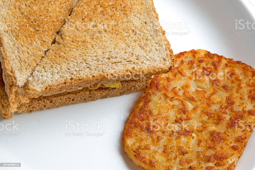 bbreakfast toasted egg sandwich hash browns stock photo
