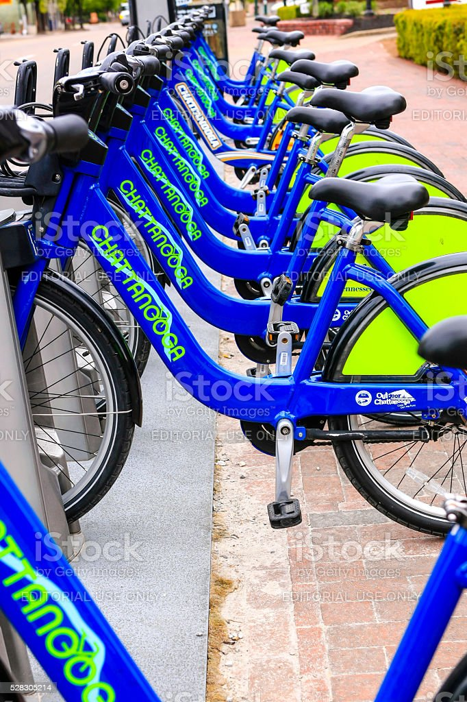 B-Cycle rental Bicycles in Chattanooga, Tennessee stock photo