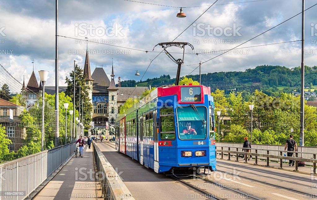 Be 4/10 tram on Kirchenfeldbrucke in Bern, Switzerland stock photo