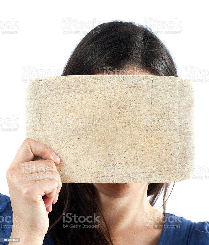 be a blockhead - Brett vorm Kopf stock photo