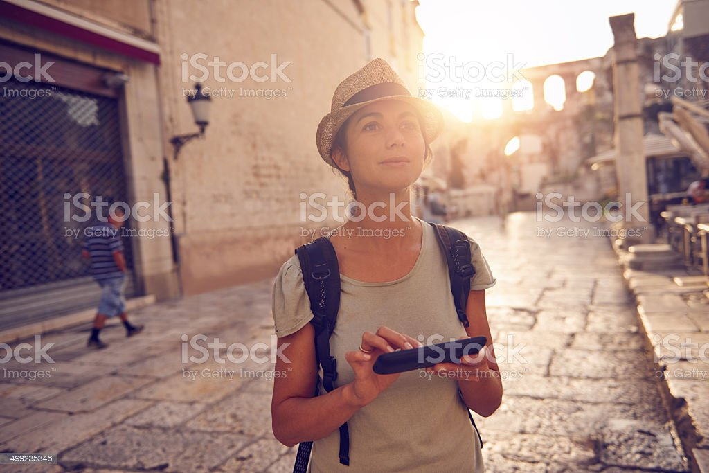 Be a traveler not a tourist stock photo