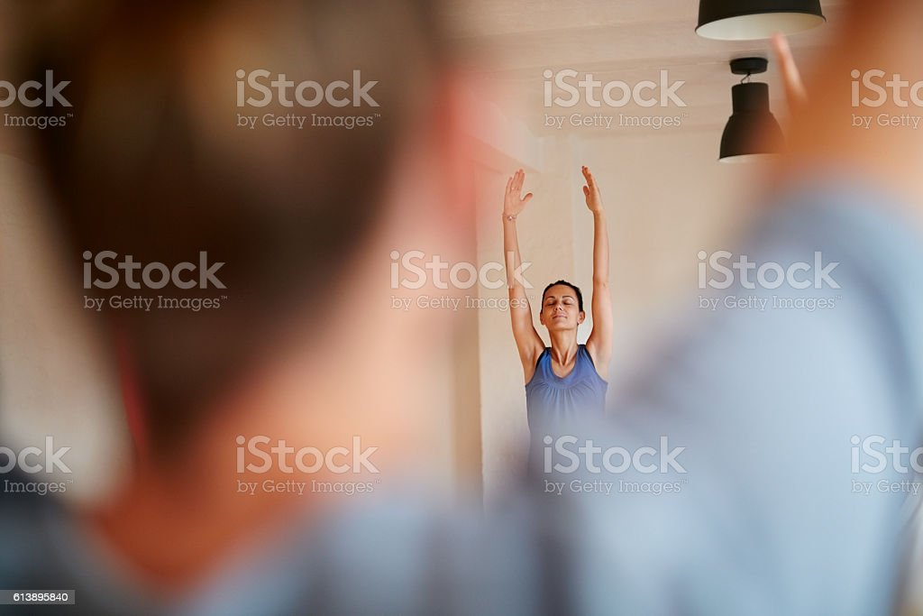 Be aware of the beauty of the mind-body connection stock photo