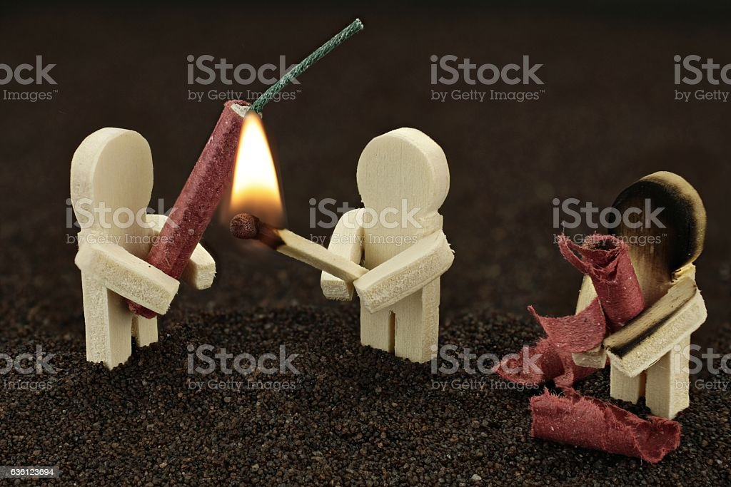 Be careful with fireworks stock photo