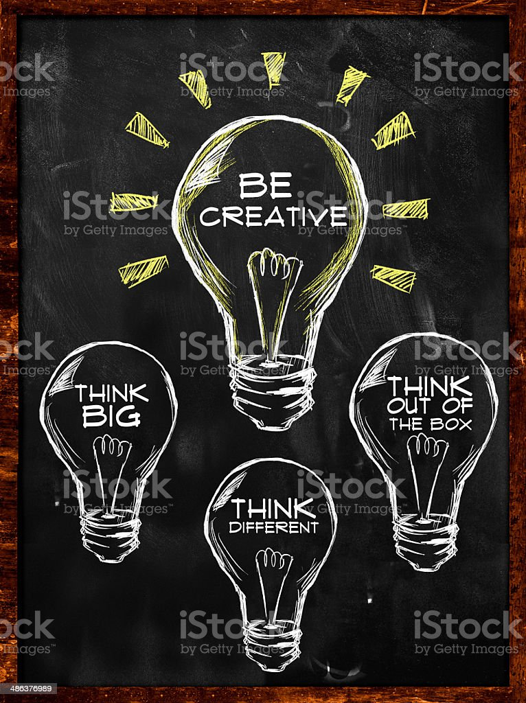 Be creative, Think big and different stock photo