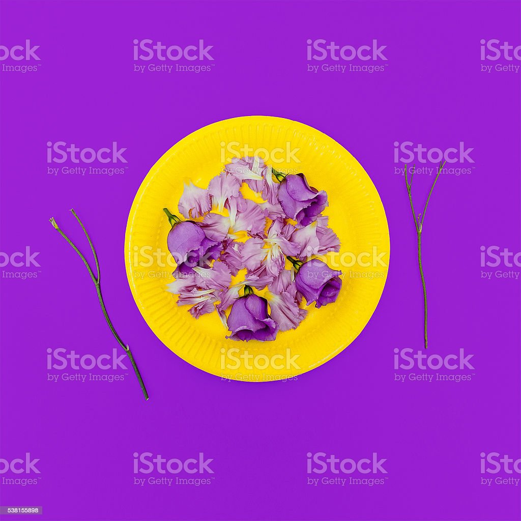 Be fashion Lady. Love flowers, Love yourself. Glamorous breakfas stock photo