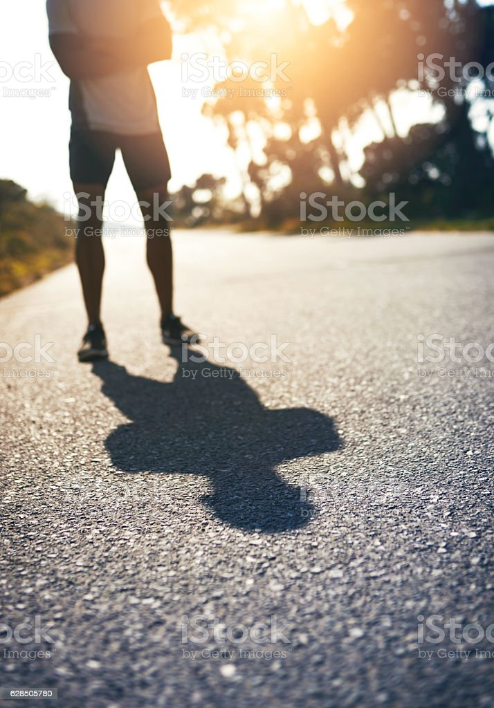 Be fierce and face your own shadow stock photo