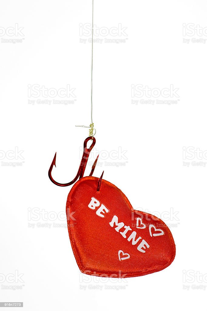 Be Mine Heart on a Hook royalty-free stock photo