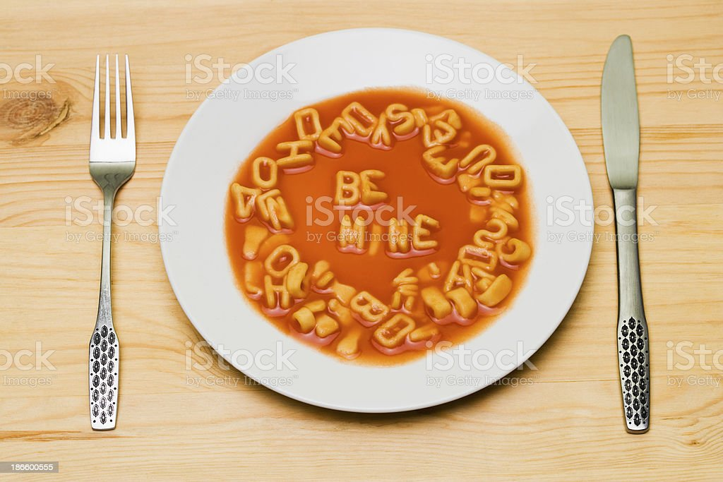 Be mine in alphabet soup stock photo