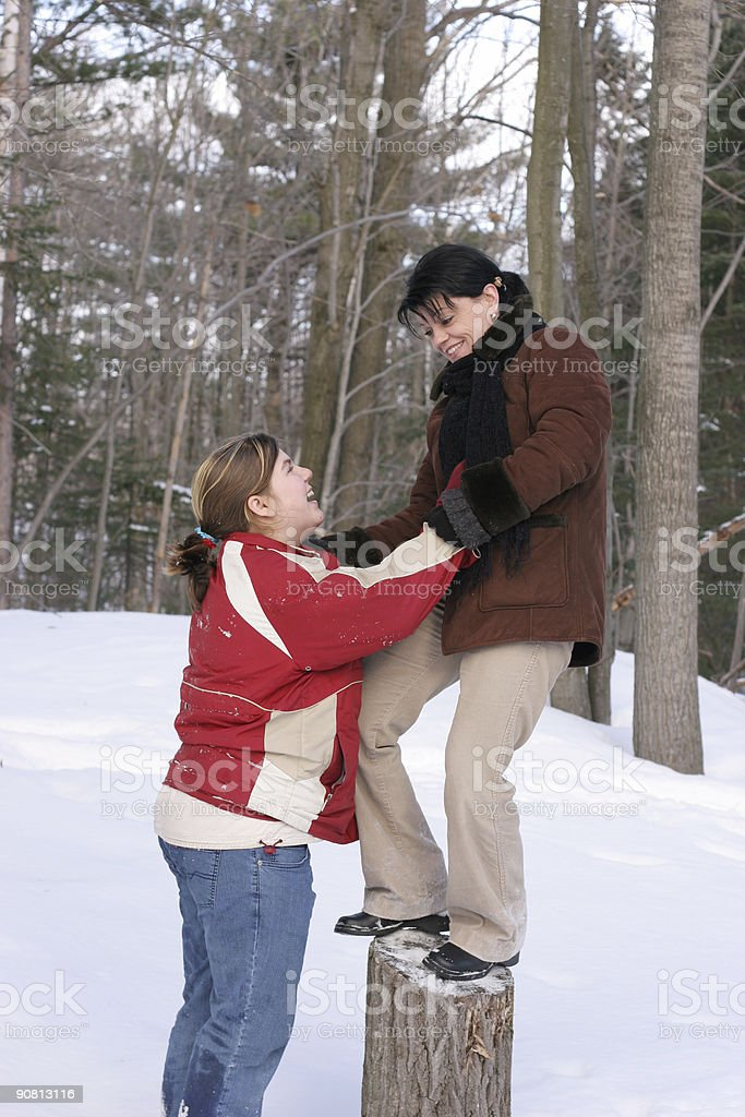 Be nice with your aunt! stock photo