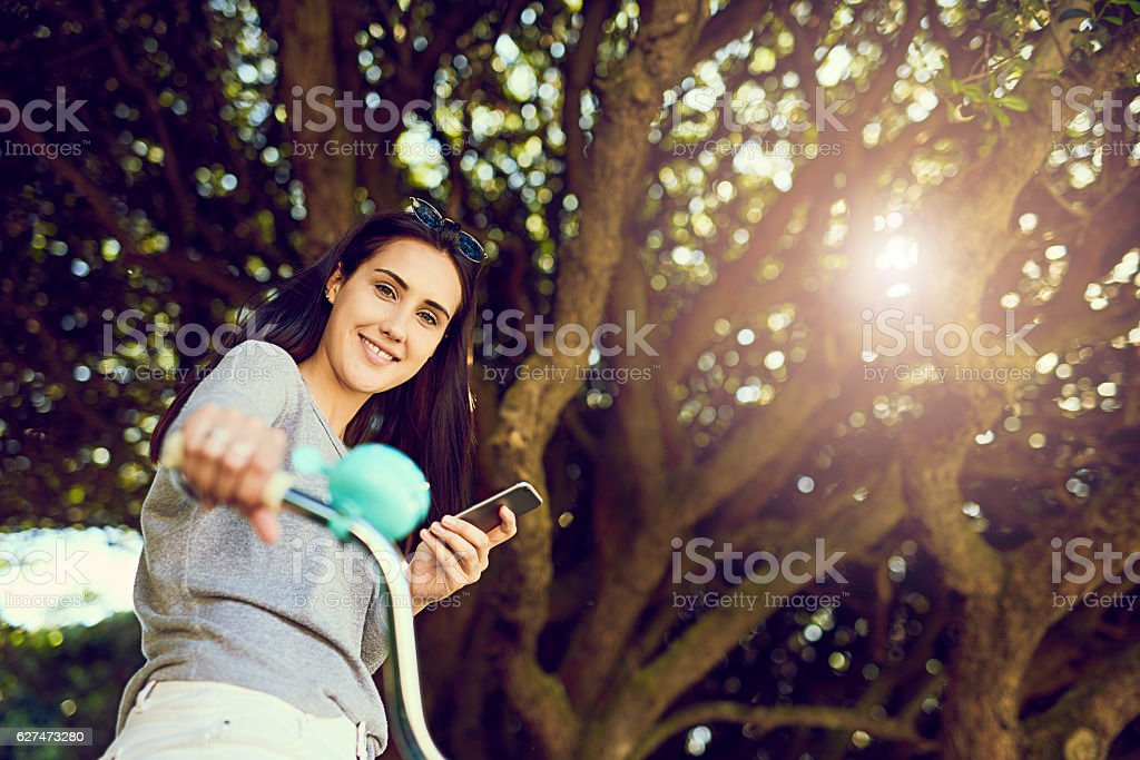 Be responsible - don't text and cycle stock photo
