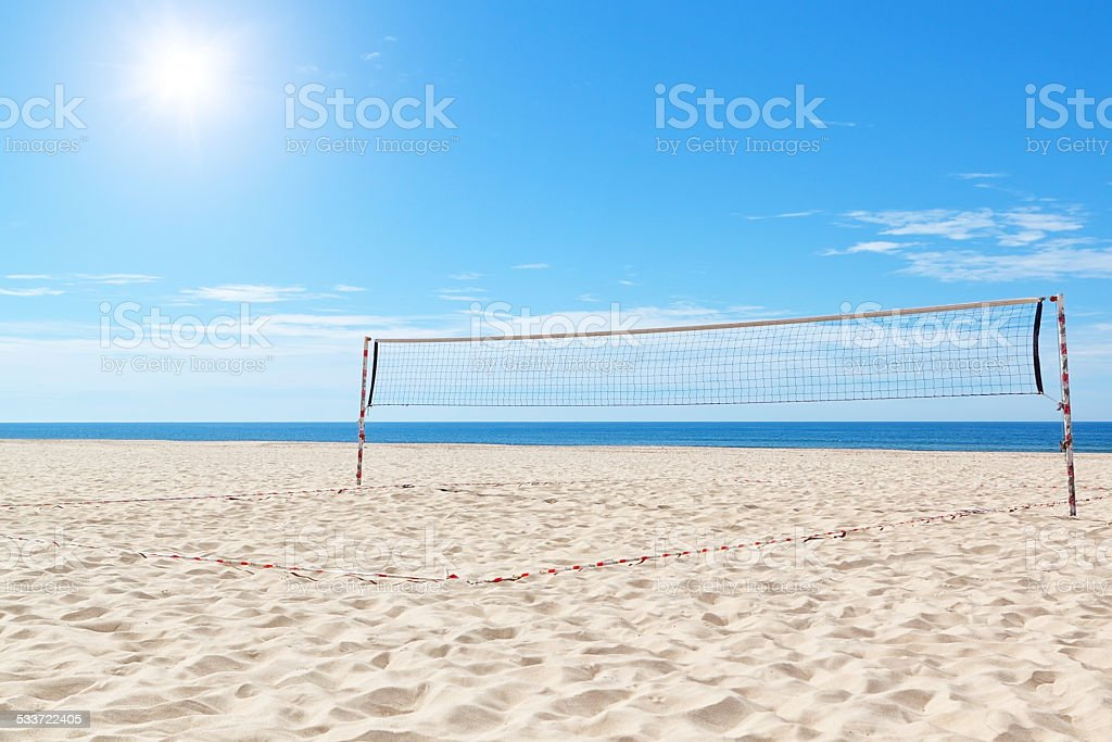 Beach a volleyball court at sea. Summer. stock photo