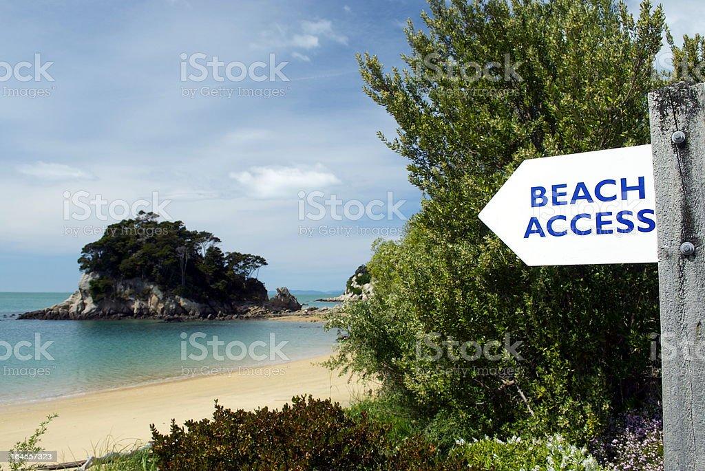 Beach Access on Kaiteriteri, Spring stock photo
