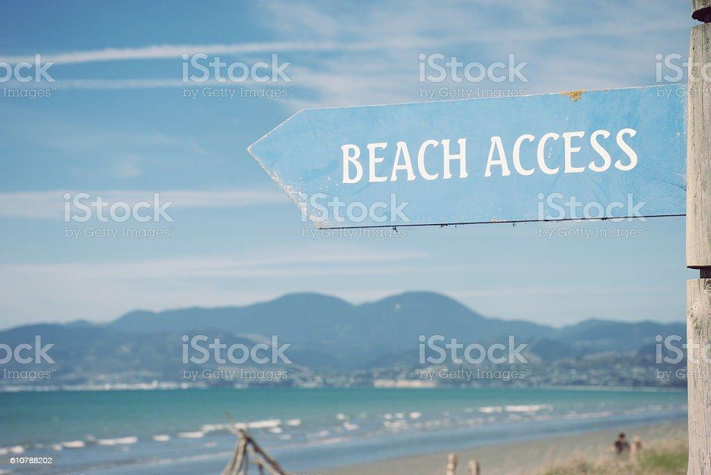 'Beach Access' on Rabbit Island, Tasman District, New Zealand stock photo