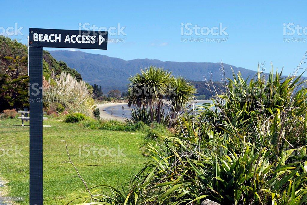 Beach Access Sign, New Zealand stock photo