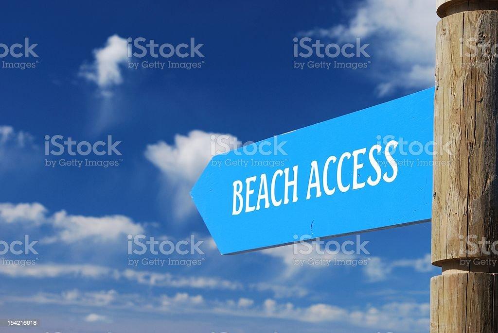 Beach Access Signpost stock photo