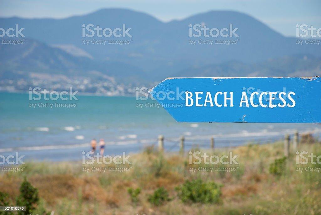 'Beach Access' to Rabbit Island, Richmond, Nelson, NZ stock photo