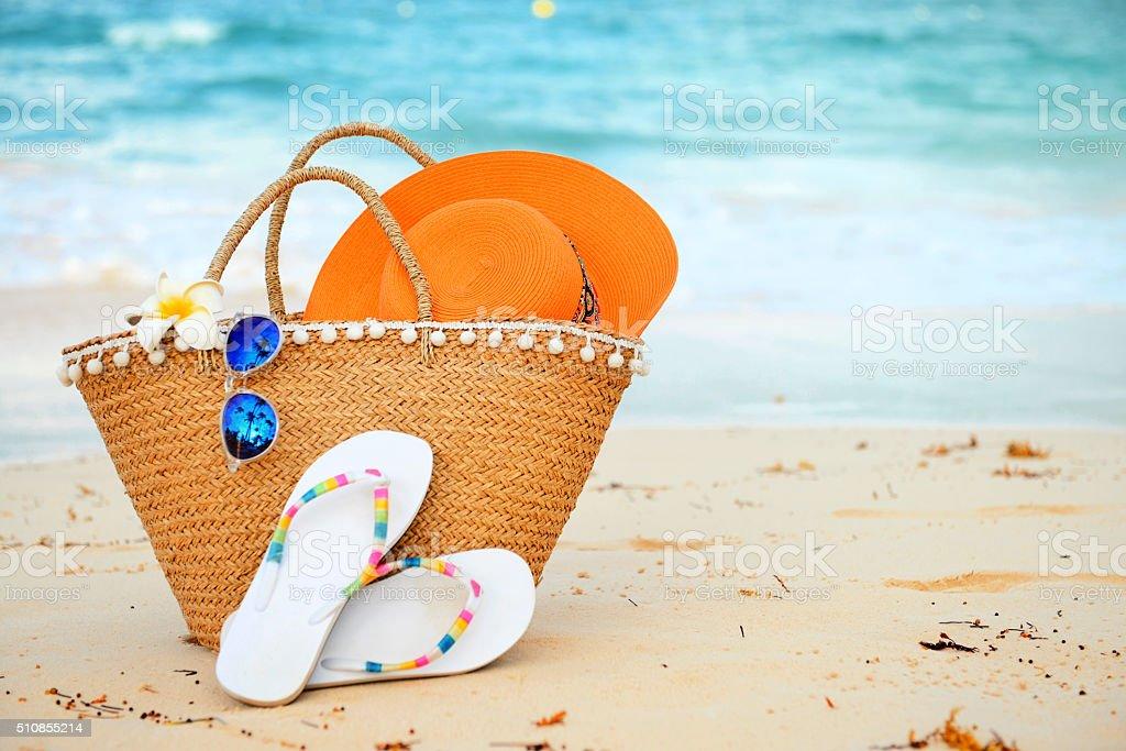beach accessories close up stock photo