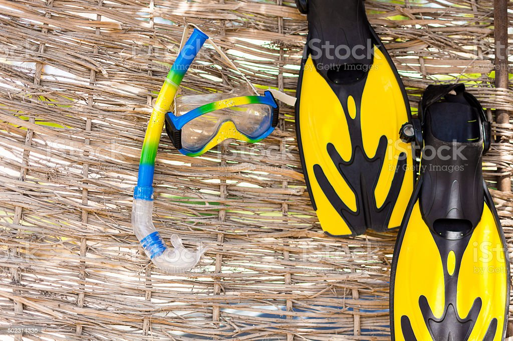 Beach accessories. Mask, fins, snorkel on rotang background stock photo