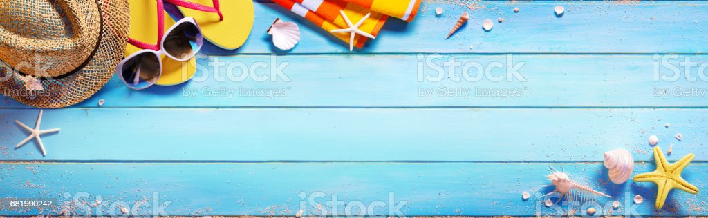 Beach Accessories On Blue Table - Summer Holiday stock photo