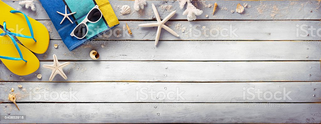 Beach Accessories On Vintage Wooden Plank - Retro Summer Holiday stock photo