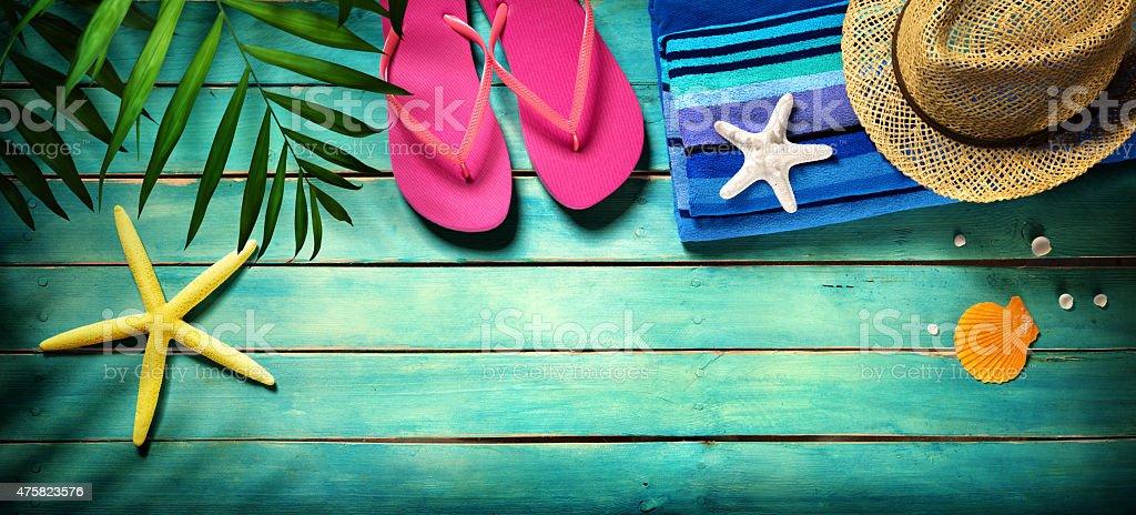 Beach accessories on wooden - summer background stock photo