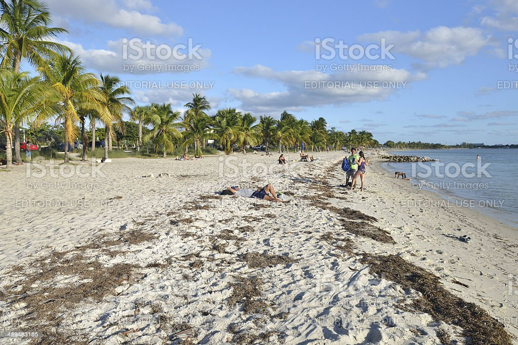 Beach along Rickenbacker Causeway stock photo