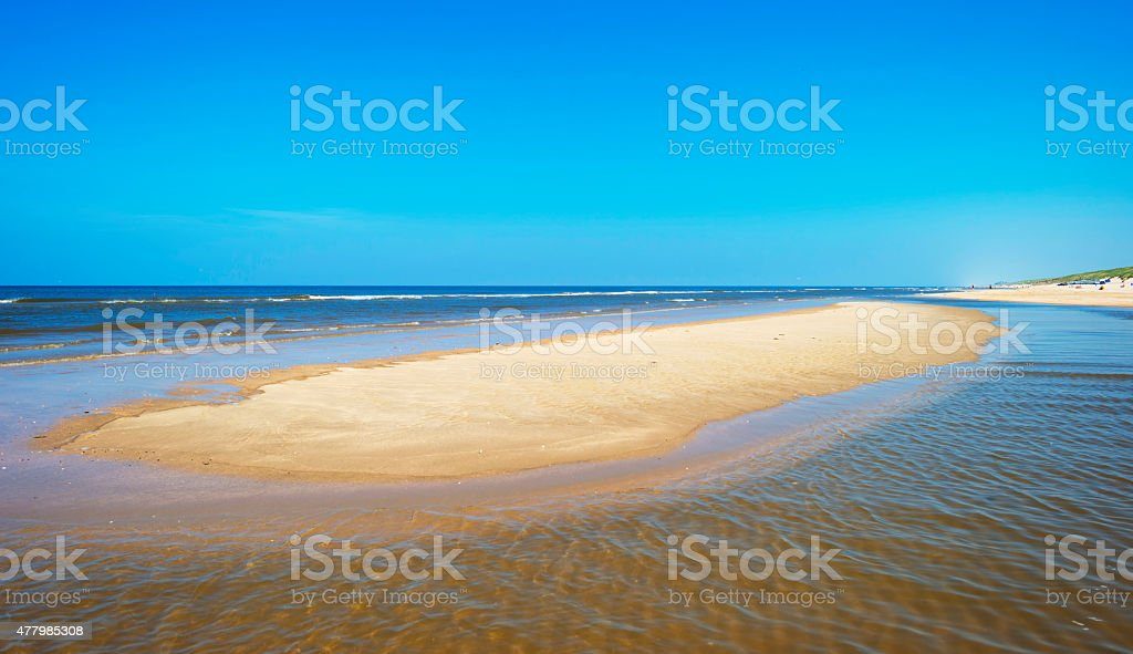 Beach along the North Sea in spring stock photo