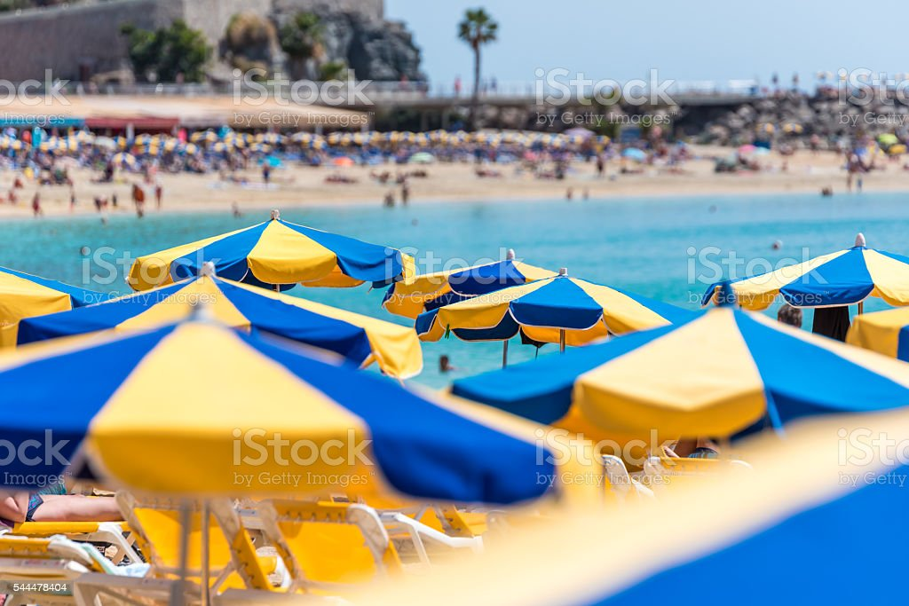 Beach Amadores in Puerto Rico, Island Gran Canaria of spain stock photo