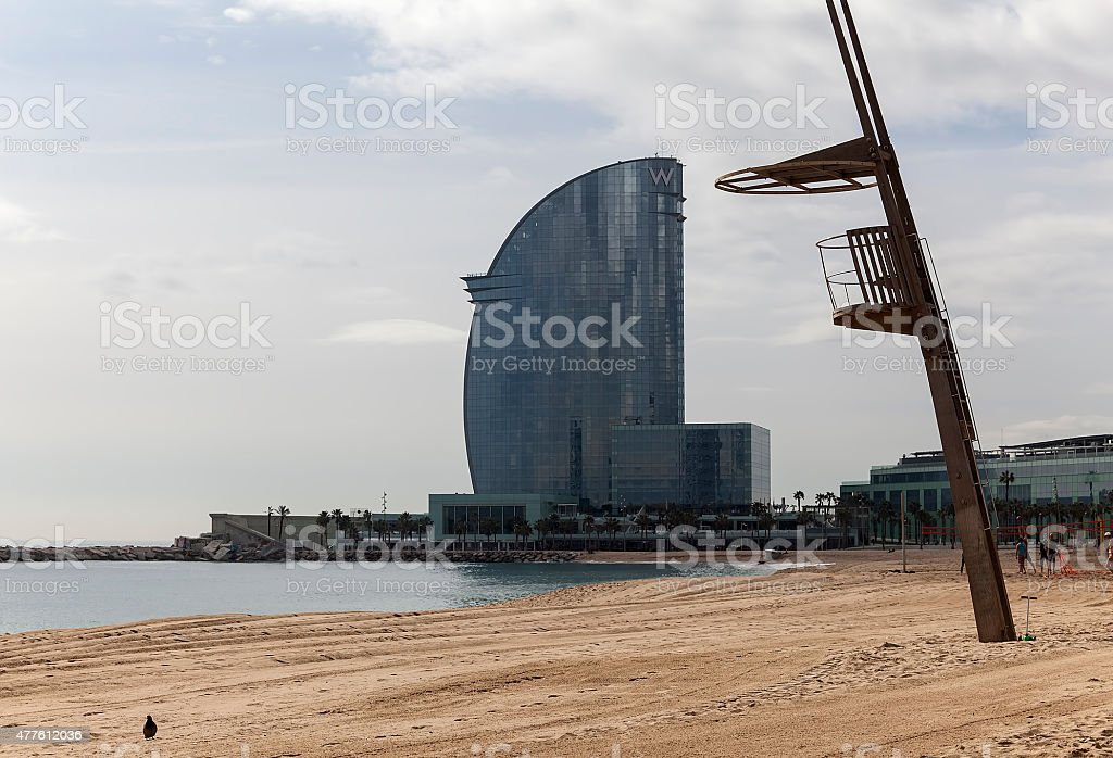 Beach and a tower royalty-free stock photo