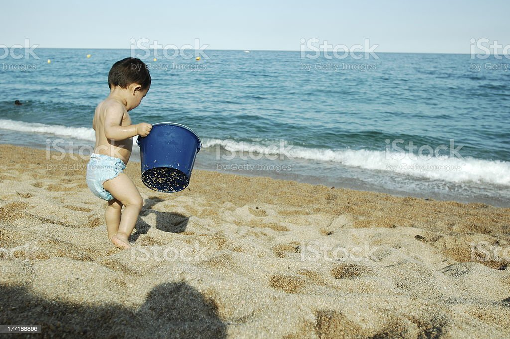 Beach and baby ! royalty-free stock photo