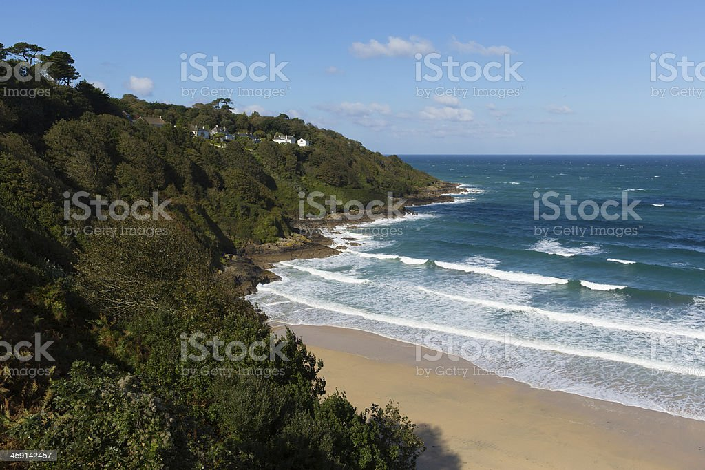 Beach and blue sea Carbis Cornwall England near St Ives stock photo