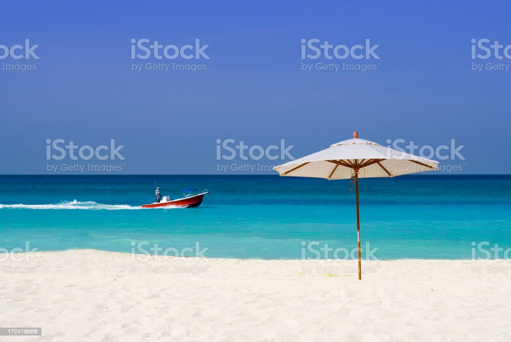 Beach and Boat royalty-free stock photo