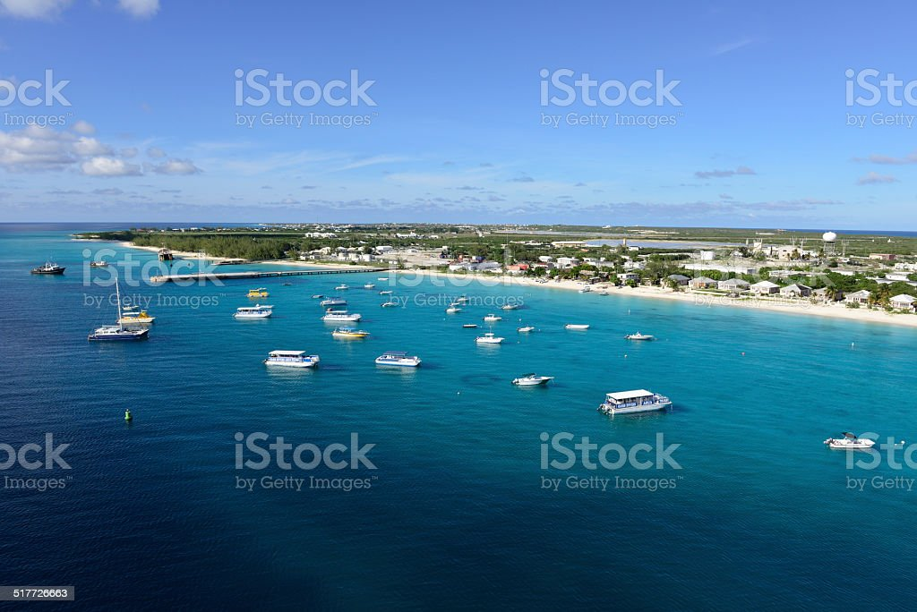Beach and boats on Grand Turk stock photo
