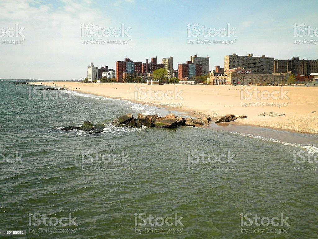 Beach and Brooklyn City stock photo