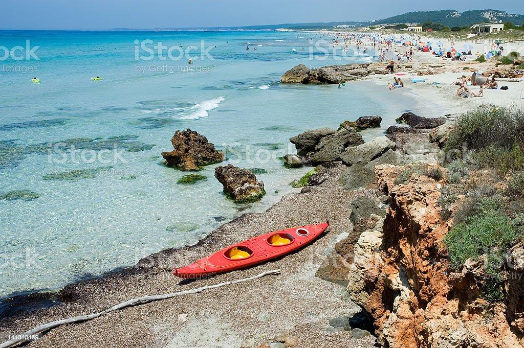 Beach and Canoe royalty-free stock photo