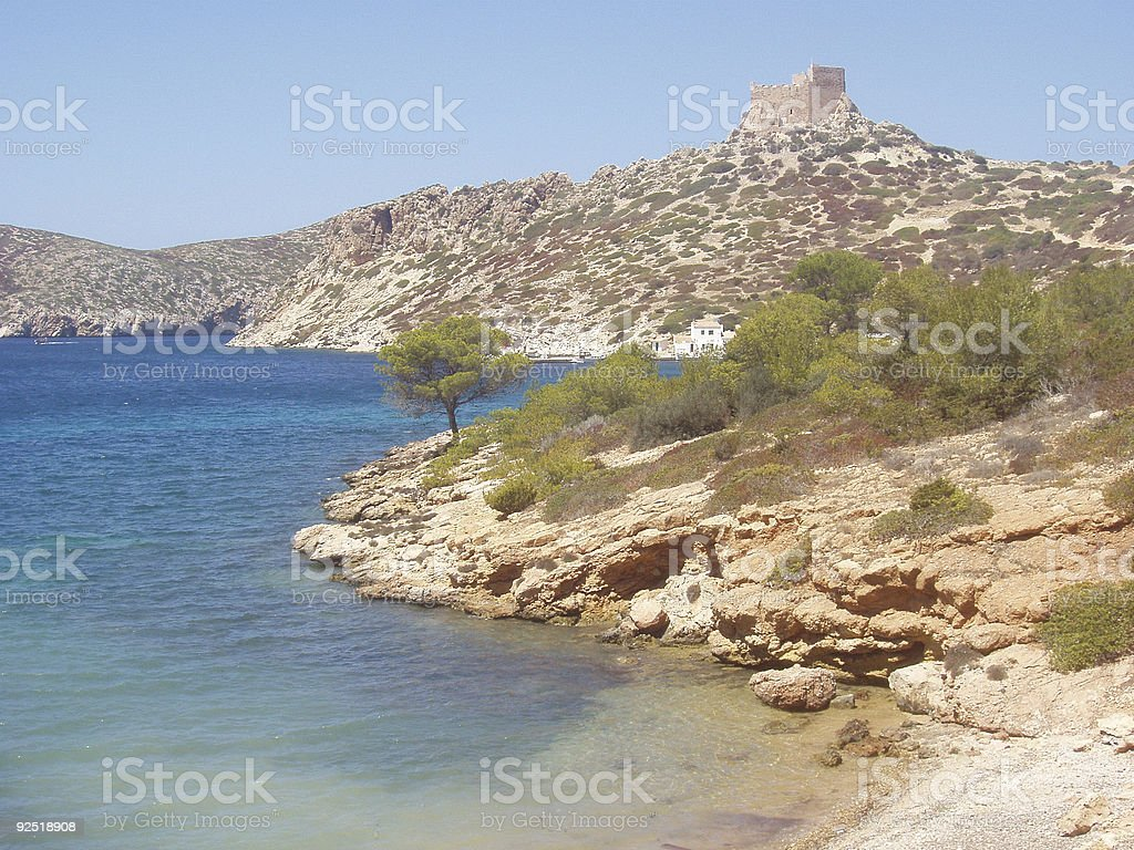 beach and castle in island stock photo