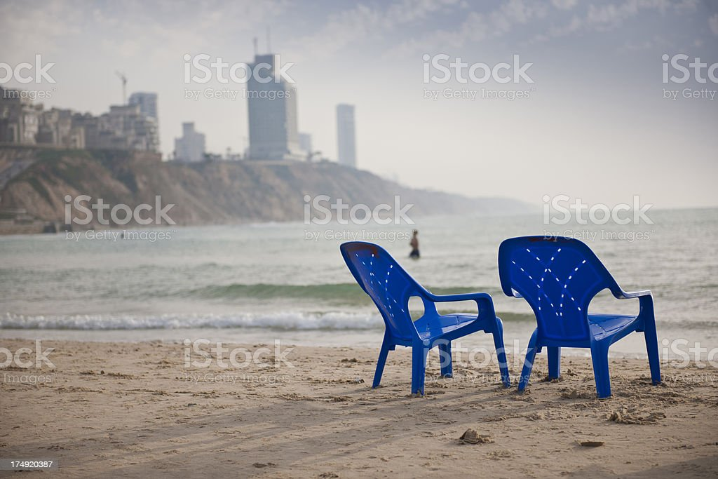 Beach and chairs stock photo